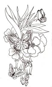 butterfly among flowers coloring page printable pages click the
