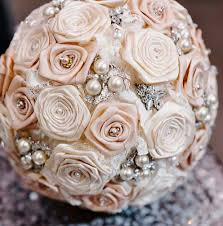satin roses vintage inspired blush and ivory satin bouquet