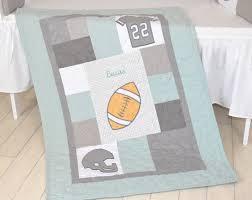 Mint Green Crib Bedding Football Blanket Baby Boy Sports Crib Bedding Gray Mint Green
