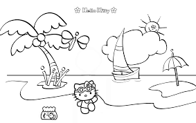 magnificent hello kitty beach coloring pages with beach coloring
