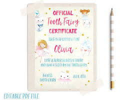 tooth fairy certificate tooth fairy letter message from