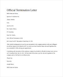 sample termination letter 9 examples in word pdflease