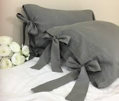 Grey Linen Bedding Medium Grey Linen Duvet Cover With Bow Ties U2013 Country Rustic