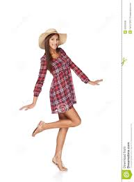 happy young woman portrait in country style stock photo image