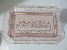 the last supper plates tiara indian glass pink depression glass the last supper plate