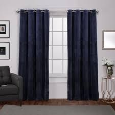 Navy Window Curtains Velvet Navy Blue Heavyweight Grommet Top Window Curtain Eh8194 03