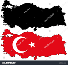 Black And Red Flag Country Highly Detailed Country Silhouette Flag Turkey Stock Vector