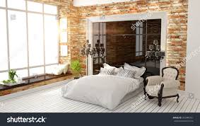 beautiful modern bedroom interior art deco stock illustration