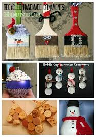 roundup of handmade ornaments from recycled materials