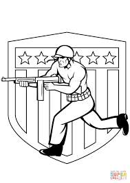 us soldier running with tommy gun coloring page free printable