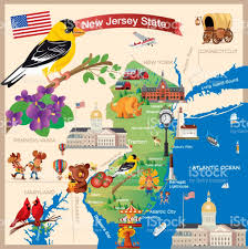 Map Of Jersey City Cartoon Map Of New Jersey State Stock Vector Art 803998412 Istock