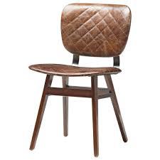 drifter industrial loft brown leather quilt oak dining chair
