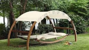 Wooden Outdoor Lounge Chairs Arched Canopy Hammock Wooden Swing Day Bed 2 Person Outdoor