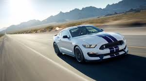 shelby gt350 mustang in white with blue stripes is 500 hp of america