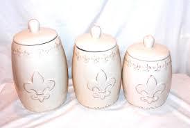new 3pc kitchen fleur de lis distressed white canister set storage