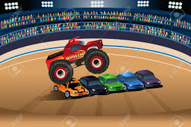 monster trucks races cartoon cars a vector illustration of monster truck jumping on cars royalty