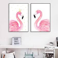 Flamingo Home Decor Flamingo Canvas Painting Dots Crown Animals Posters Prints Nordic