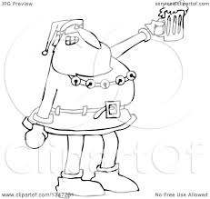 cartoon beer black and white outline clipart of a cartoon black and white christmas santa claus
