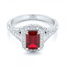 ruby and engagement rings custom ruby and halo vintage engagement ring 102729