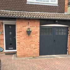 Elite Garage Door by Matching Bedford Side Hinged And Front Door In Anthracite Grey