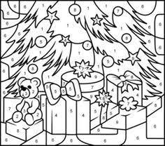 christmas house printable color number hard
