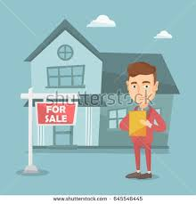 happy real estate agent signing home stock vector 645546445