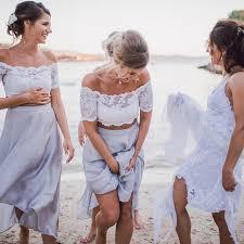 light bridesmaid dresses two the shoulder light grey chiffon bridesmaid