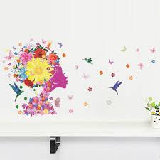 angel fairy wall stickers decals wallpaper beautiful flowers birds
