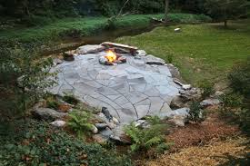 Patio And Firepit by Indian Run Landscaping Natural Flagstone Patio With Fire Pit