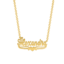 14kt gold name necklace necklace w lower tails heart alexandra