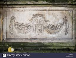 ornaments moldings gargoyle low reliefs in a sandstone granite