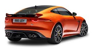 red orange cars orange jaguar f type svr coupe back view car png image pngpix