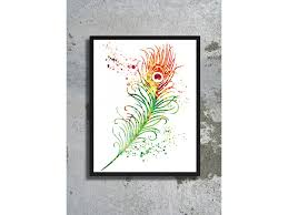 Feather Home Decor Bird Watercolor Archival Print Peacock Watercolor Painting Home