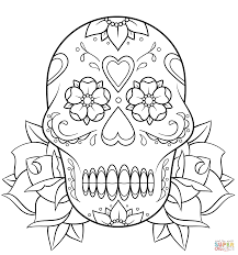 sugar skull and roses coloring page free printable coloring pages