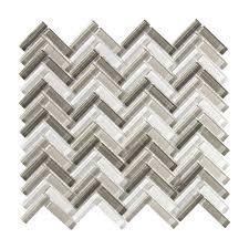 splashback tile marina iridescent bricks white glass mosaic wall