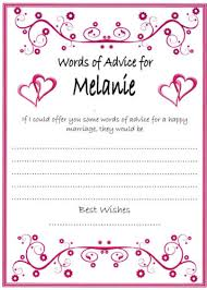 words of wisdom bridal shower personalised hen party bridal shower advice cards