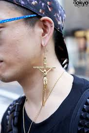 boy earrings large crucifix earring in harajuku tokyo fashion news