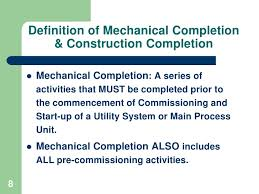 completed definition commissioning interface with engineering
