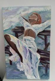 a on the bench 50x80 cm original acrylic painting romantic