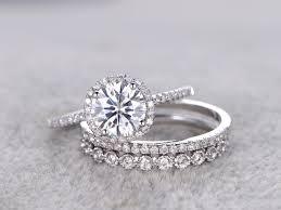 wedding band set 3pcs moissanite wedding ring set diamond matching band white gold