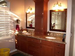 Bathroom Countertop Storage Ideas Comfortable Bathroom Ideas With Wooden Framed Mirrors And