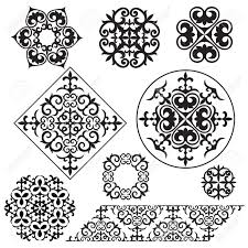set kazakh asian ornaments and patterns royalty free cliparts