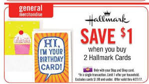 new coupon hallmark cards just 1 at stop u0026 shop giant and