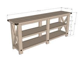 Rustic Tv Console Table Built Custom Diy Rustic Tv Console Table Plan Ideas