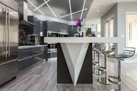 Grey Wood Floors Kitchen by Grey Wood Flooring With City View Open Concept Kitchen Chrome