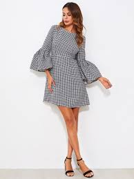 houndstooth dress fluted sleeve houndstooth dress shein sheinside