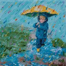 original painting little boy with umbrella puddle