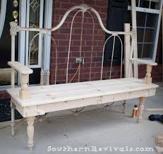 Garden Bench With Trellis by Diy Repurposed Metal Headboard Bench Southern Revivals