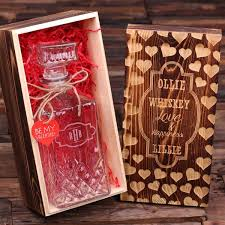 personalized s day whiskey decanter with wood gift box