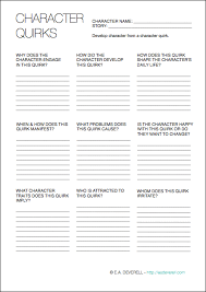 character quirks writing worksheet wednesday writing